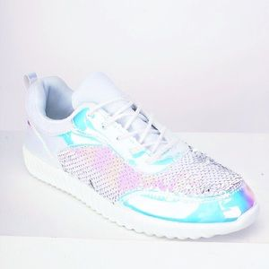Shoes - ARRIVED ‼️White Holographic Sequin Sneakers 